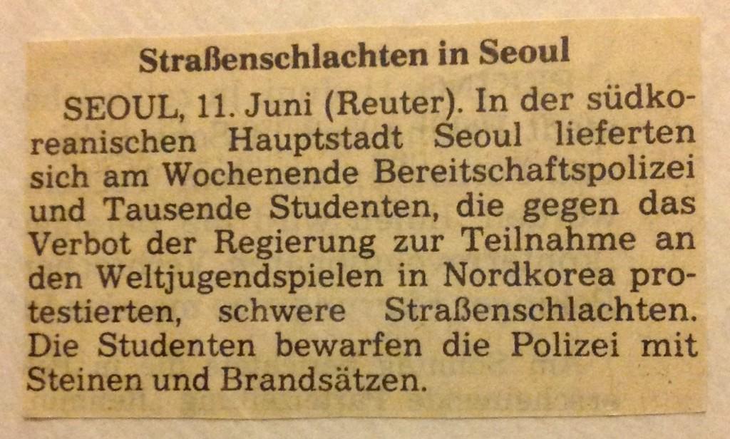 Frankfurter Rundschau vom 12.06.1989: Straßenschlachten in Seoul